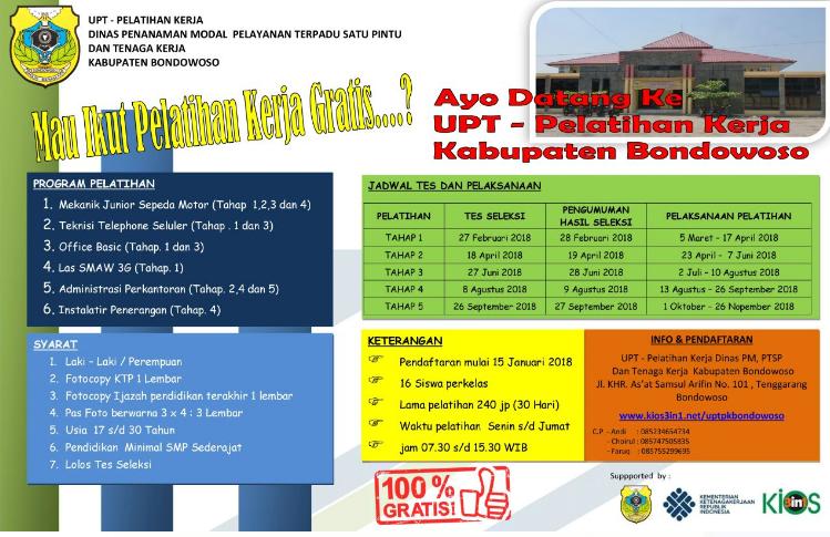 Pelatihan Kerja Gratis Kabupaten Bondowoso 2018