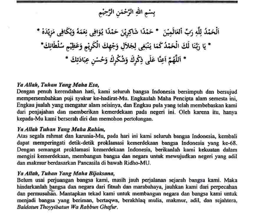 Teks Doa Upacara 17 Agustus
